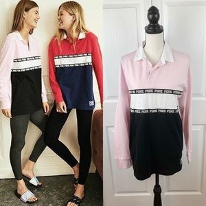 Pink VS Rugby Long Sleeve Top NWT